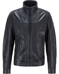 BOSS by Hugo Boss Biker Jacket In Nappa Leather With Mixed Finishes - Black
