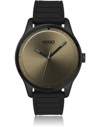 HUGO - Unisex Silicone-strap Watch With Khaki Dial - Lyst