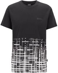 BOSS - Slim-fit Beach T-shirt In Cotton With Upf +50 - Lyst