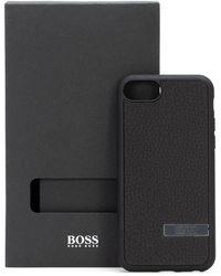 BOSS by HUGO BOSS IPhone-Hülle aus italienischem Leder mit metallener Logo-Applikation - Schwarz