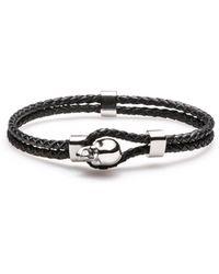 HUGO Braided-leather Bracelet With Skull Closure - Black