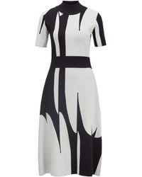 BOSS Mock-neck Knitted Dress With Abstract Pattern - Blue