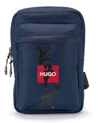 HUGO Sac à dos avec bandoulière, logo et idéogramme japonais - Bleu