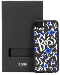BOSS by HUGO BOSS IPhone-Hülle aus italienischem Leder mit Sternen und Logos - Schwarz