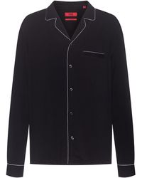 HUGO Relaxed-fit Overhemd In Pyjamastijl Met Contrastbiezen - Zwart