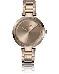 HUGO Beige-gold-effect Watch With Logo Link - Metallic