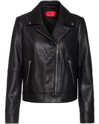 HUGO Regular-fit Biker Jacket In Washed-leather - Black