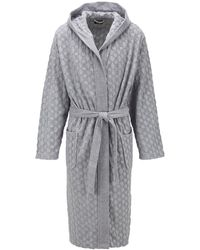 BOSS Hooded Dressing Gown In Monogrammed French Terry - Gray