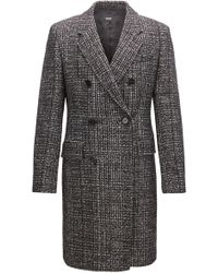 BOSS - Double-breasted Coat In Melange Fabric - Lyst