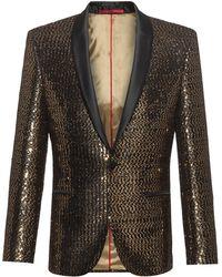 HUGO Extra-slim-fit Dinner Jacket In Golden Sequins - Metallic