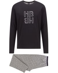 BOSS by HUGO BOSS Pyjamaset Van Interlocked Katoen Met Monogramprint - Grijs
