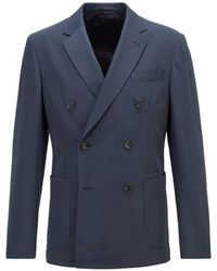 BOSS by HUGO BOSS Virgin-wool Slim-fit Jacket With Double-breasted Closure - Blue