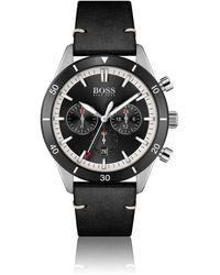 BOSS by HUGO BOSS Uhr mit schwarzer Lünette, Totalisatoren und Lederarmband