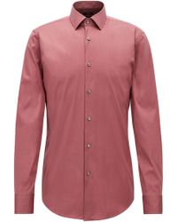 BOSS - Slim-fit Shirt In Stretch Cotton-blend Poplin - Lyst