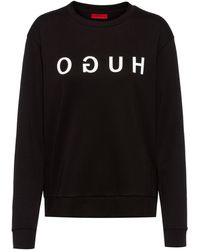 HUGO Reverse-logo Sweatshirt In Interlock Cotton - Black