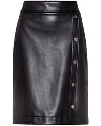 HUGO Button-front Mini Skirt In Faux Leather - Black