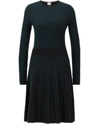 BOSS Long-sleeved Dress In Two-tone Knitted Jacquard - Black