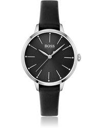 BOSS by HUGO BOSS Horloge Met Zwarte Wijzerplaat, Kristallen En Leren Polsband