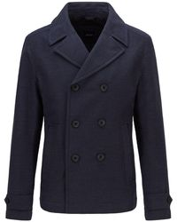 BOSS by HUGO BOSS Double-breasted Pea Coat In A Cotton Blend - Blue