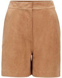 BOSS by HUGO BOSS Shorts aus Veloursleder mit teilweise elastischem Bund - Natur