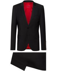 HUGO Extra-slim-fit Suit In A Super-flex Wool Blend - Black