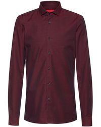 HUGO Extra Slim-fit Overhemd Van Katoenen Canvas Met Microstructuur - Rood