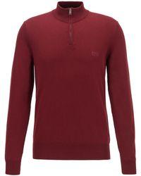 BOSS by HUGO BOSS Jersey de algodón puro con cremallera en el cuello y logo bordado - Rojo