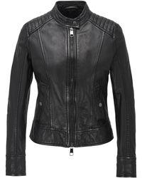 BOSS Biker Jacket In Structured Nappa Leather - Black