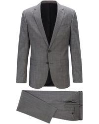 BOSS Slim-fit Suit In Patterned Virgin-wool Serge - Gray
