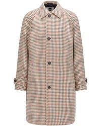 BOSS x Russell Athletic Regular-fit Coat In Stretch Fabric With Houndstooth Motif - Natural