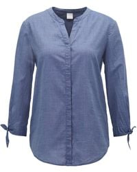 BOSS - Relaxed-fit Blouse In A Cotton-blend Chambray - Lyst