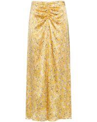HUGO High-waisted Midi Skirt In Brushstroke-print Fabric - Multicolour