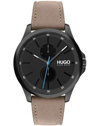HUGO Multi-eye Chronograph Watch With Beige Leather Strap - Natural