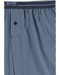 BOSS by HUGO BOSS Gestreepte Pyjamabroek Van Lichte Katoenen Popeline - Blauw