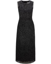 BOSS by HUGO BOSS Sparkly Sleeveless Dress With Embroidered Tulle Overlayer - Black