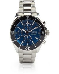 BOSS by Hugo Boss Stainless-steel Chronograph Watch With Blue Dial And Rotating Bezel - Metallic