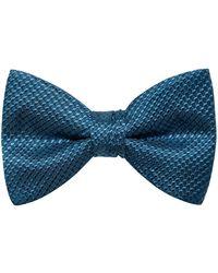 HUGO Micro-pattern Bow Tie In Silk Jacquard - Blue