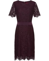 HUGO Lace Dress With Ribbon Waistband And Concealed Zip - Purple