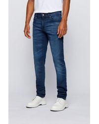 BOSS by HUGO BOSS Skinny-fit Jeans Van Oververfd Donkerblauw, Gebreid Denim
