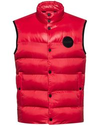 HUGO Water-repellent Padded Gilet With Reversed-logo Print - Pink