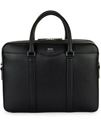 BOSS by HUGO BOSS Signature Collection Document Case In Palmellato Leather - Black
