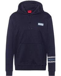 HUGO French-terry Cotton Hooded Sweatshirt With Tyre-print Logos - Blue