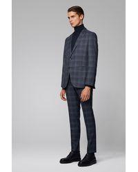 BOSS by Hugo Boss Costume Slim Fit en laine vierge à carreaux - Bleu