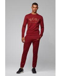 BOSS by HUGO BOSS Sudadera en mezcla de algodón con bordado de logo curvado - Rojo