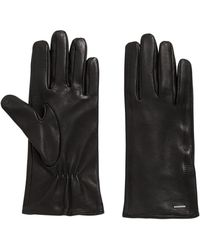 BOSS - Lambskin Leather Gloves With Embroidered Heart Details - Lyst