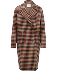 BOSS - Oversized-fit Wool-blend Coat In Houndstooth Jacquard - Lyst