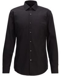 BOSS by Hugo Boss Slim-fit Shirt In Easy-iron Cotton - Black
