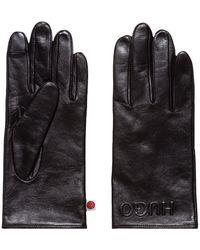 HUGO Handschoenen Van Nappaleer Met Gespiegeld Logo - Zwart