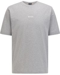 BOSS by HUGO BOSS Relaxed-fit T-shirt Van Stretchkatoen Met Logoprint - Blauw