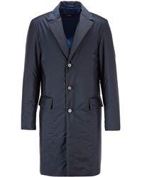 BOSS by HUGO BOSS Slim-fit Mantel Met Monogramdessin En Waterafstotende Laag - Blauw